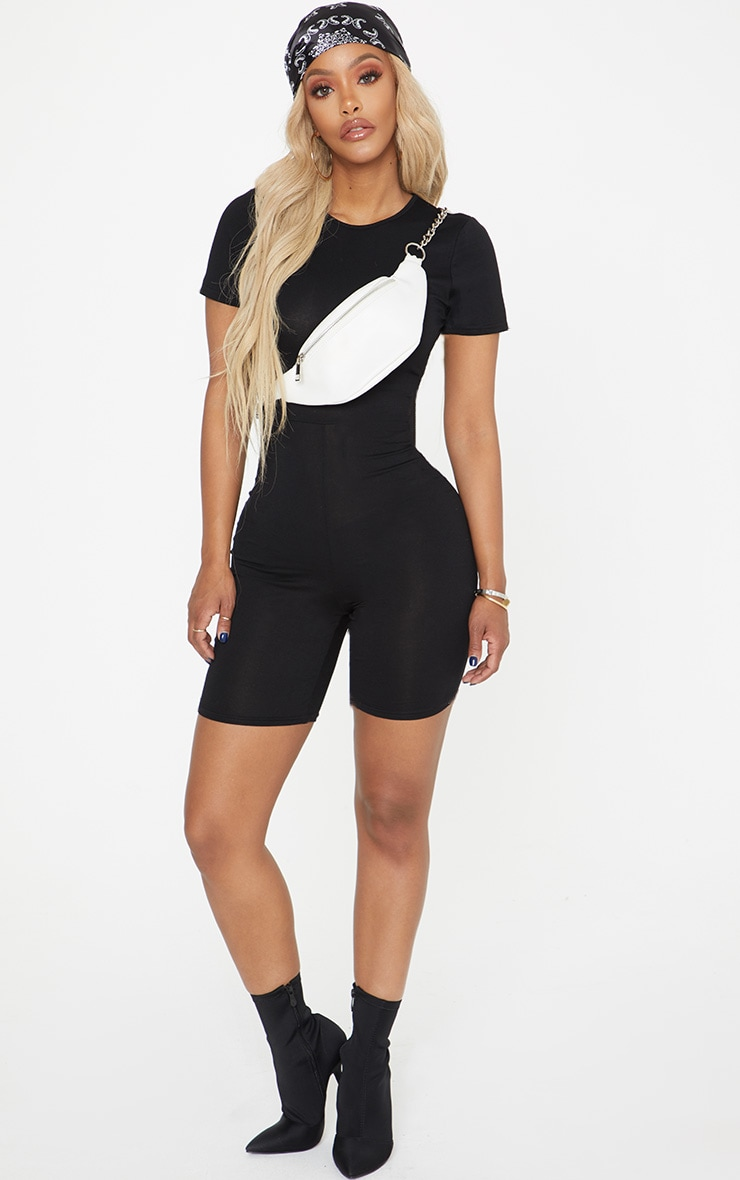 Shape Black Jersey Crew Neck Short Sleeve Unitard 4