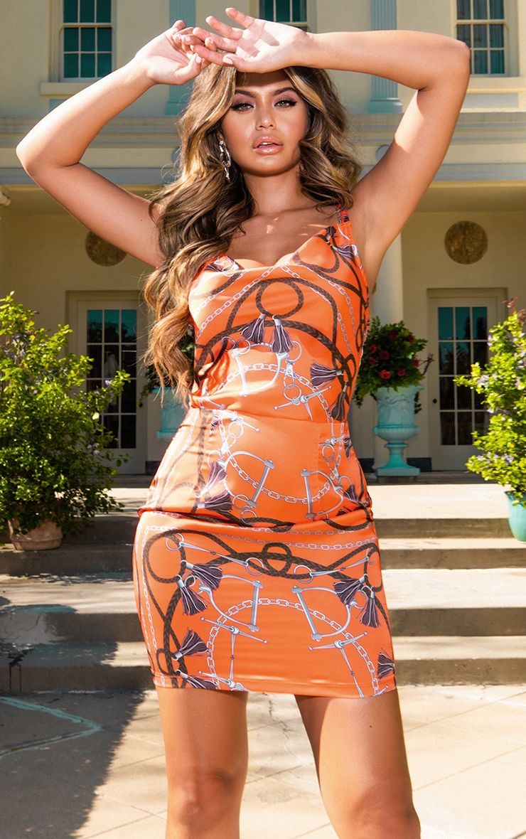 Orange Chain Print Satin Cowl Neck Bodycon Dress 1