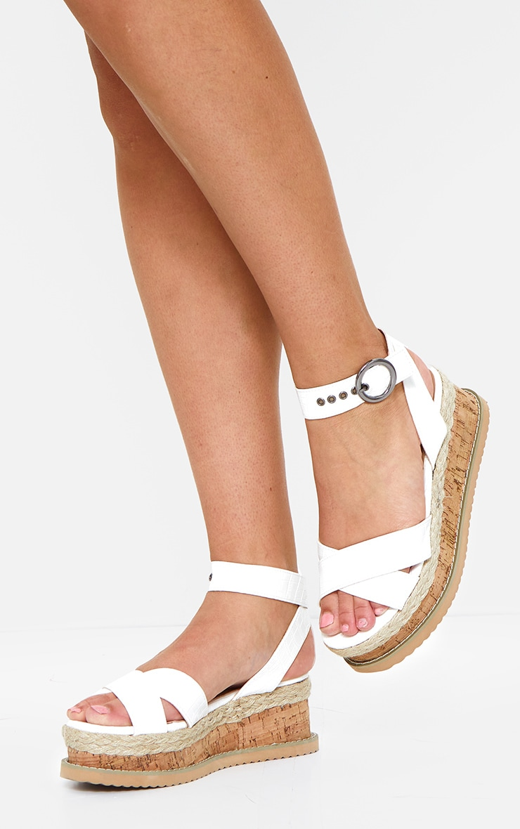 White Cross Strap Cork Flatforms 1