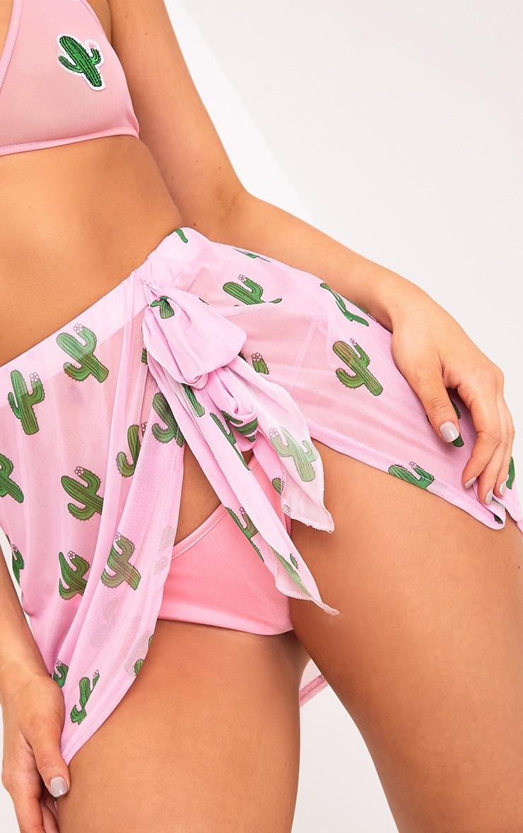 Lexine Pink Cactus Print Mini Sarong 4