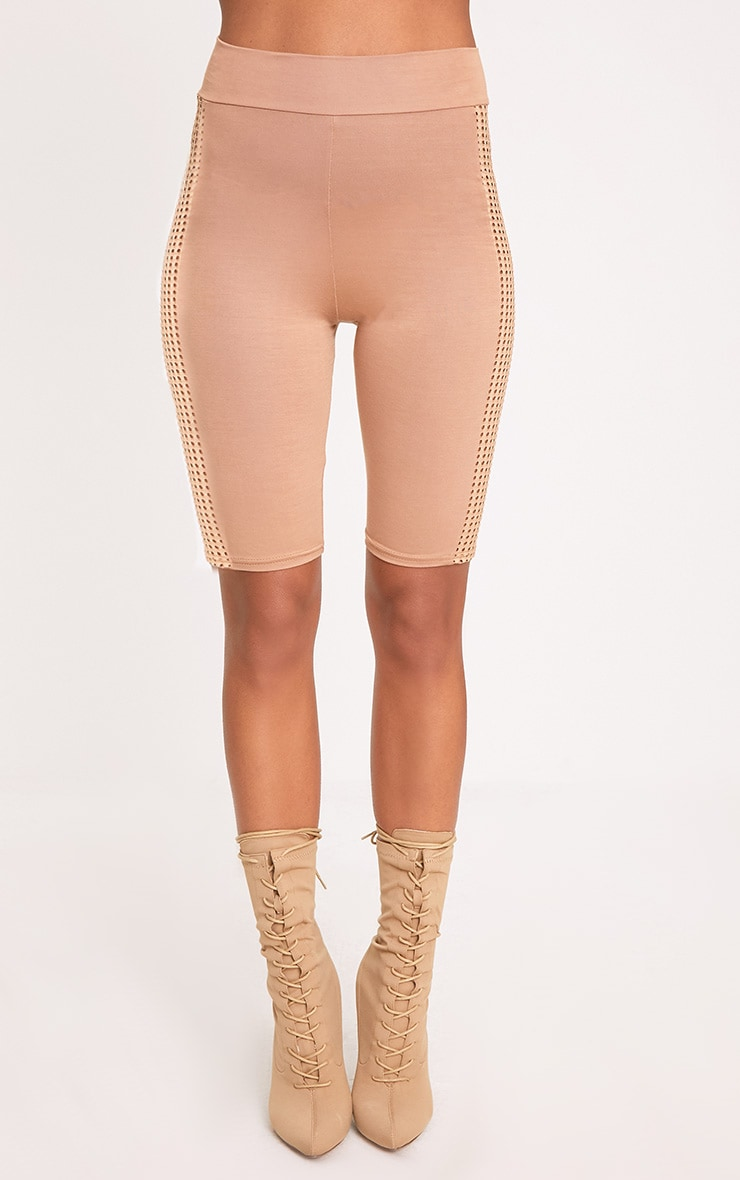 Camel Fishnet Panel Cycle Shorts 2
