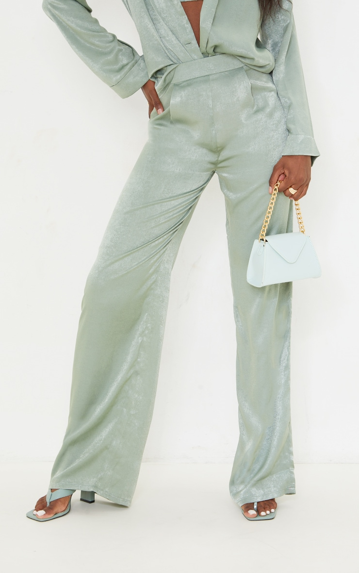 Tall Olive Hammered Satin High Waisted Pants 2