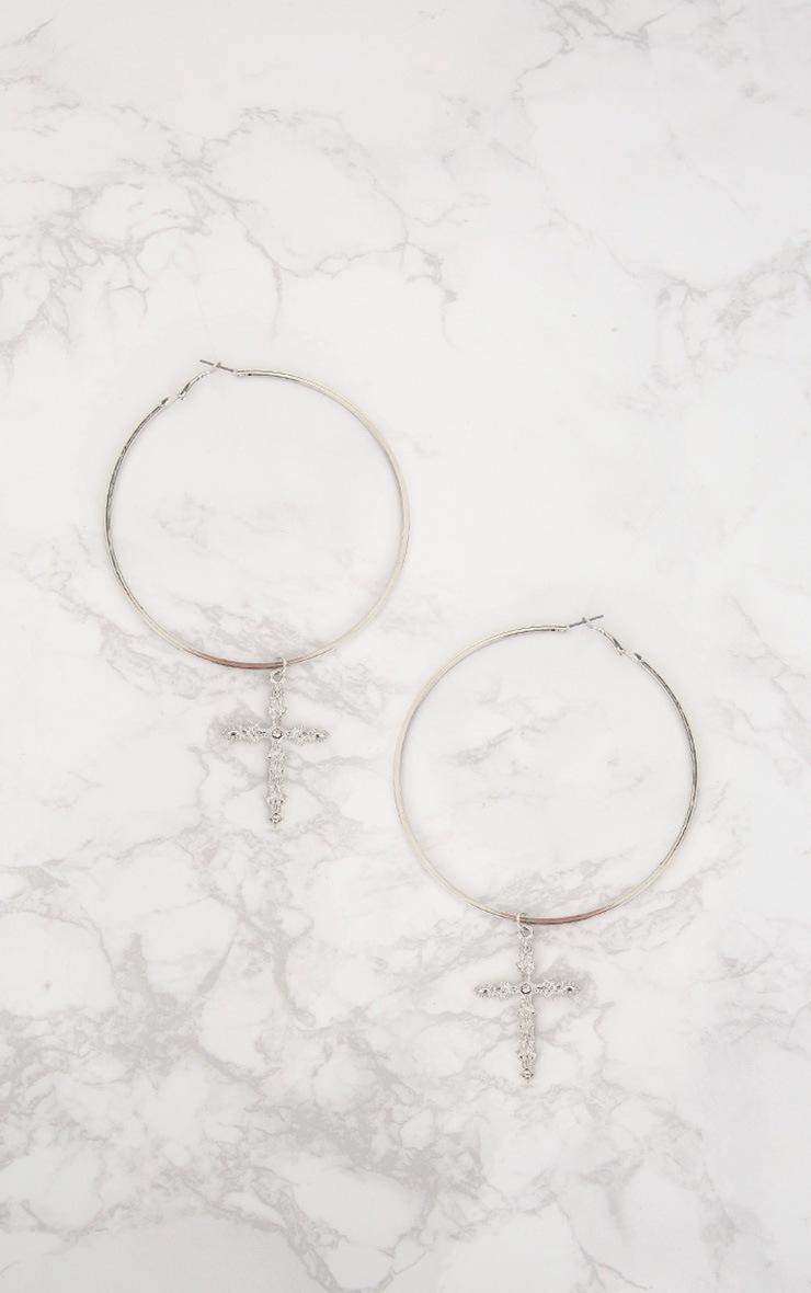 Silver Extra Large Cross Drop Hoop Earrings 3