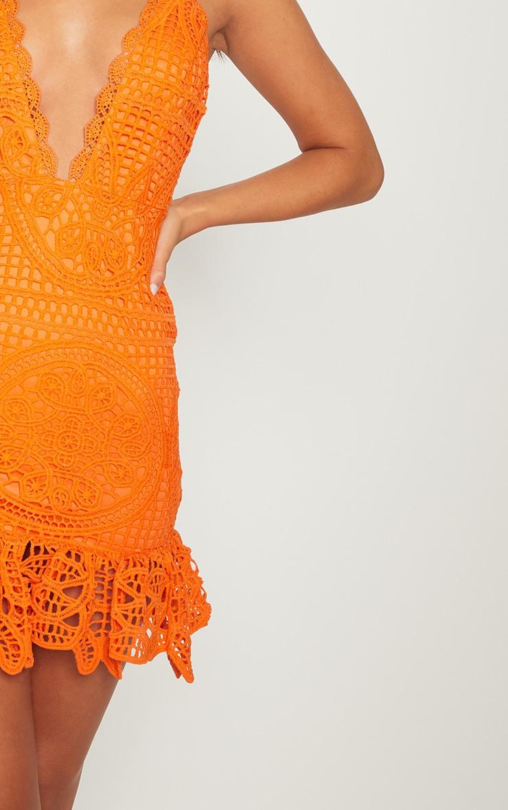 Bright Orange Strappy Thick Lace Frill Hem Bodycon Dress 5