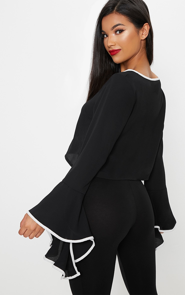 Black Contrast Frill Sleeve Blouse 2