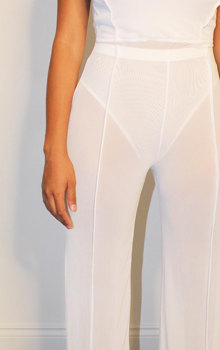 Shape White Mesh Binding Detail Wide Leg Trousers 4