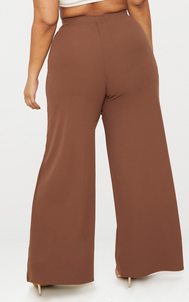 Taupe Plus Pleat Front Wide Leg Trousers  4