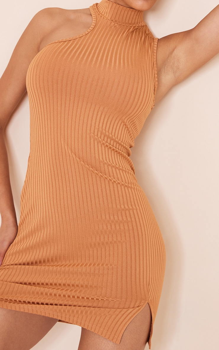 Camel Rib High Neck Split Hem Sleeveless Bodycon Dress 4
