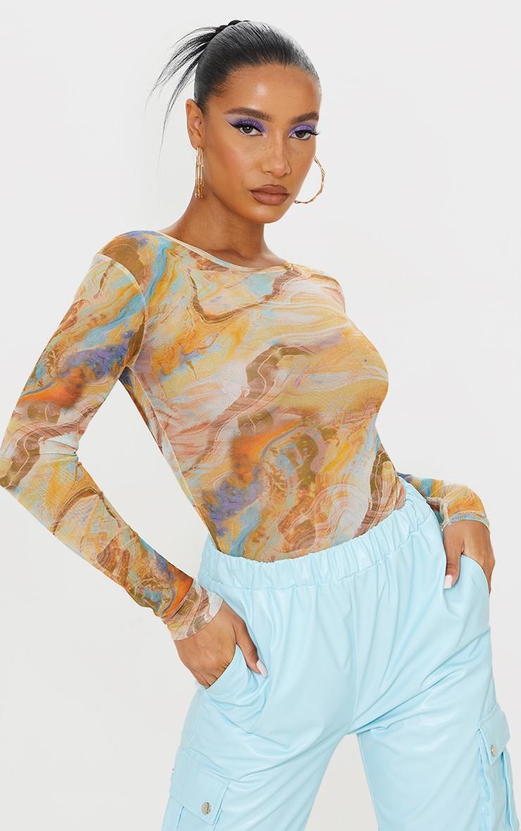 Orange Abstract Marble Printed Mesh Bodysuit 1