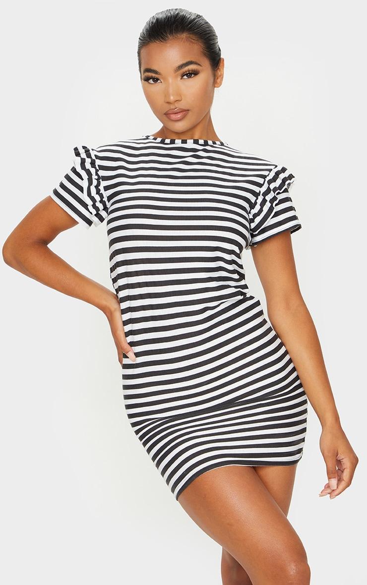 Monochrome Stripe Frill T Shirt Dress 1
