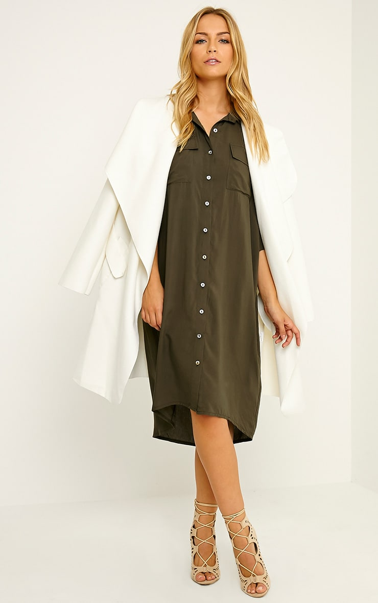 Perrin Khaki Longline Shirt Dress 4
