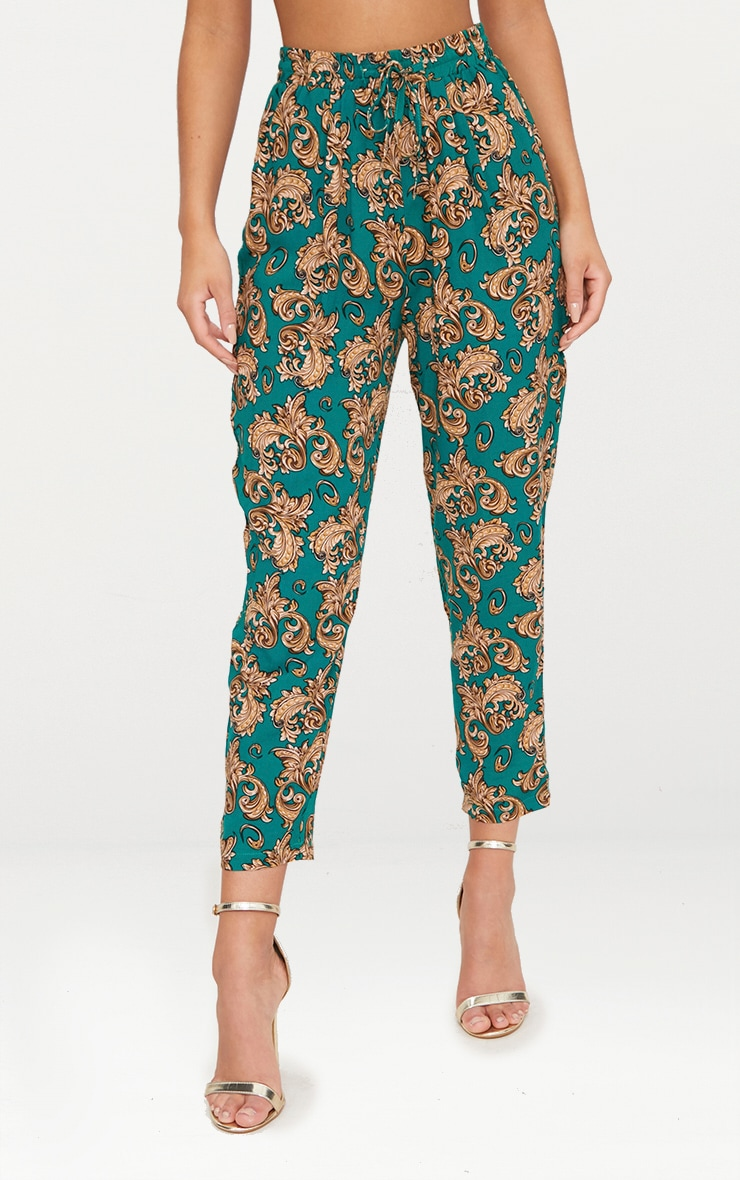 Emerald Green Chain Print Casual Trousers 2
