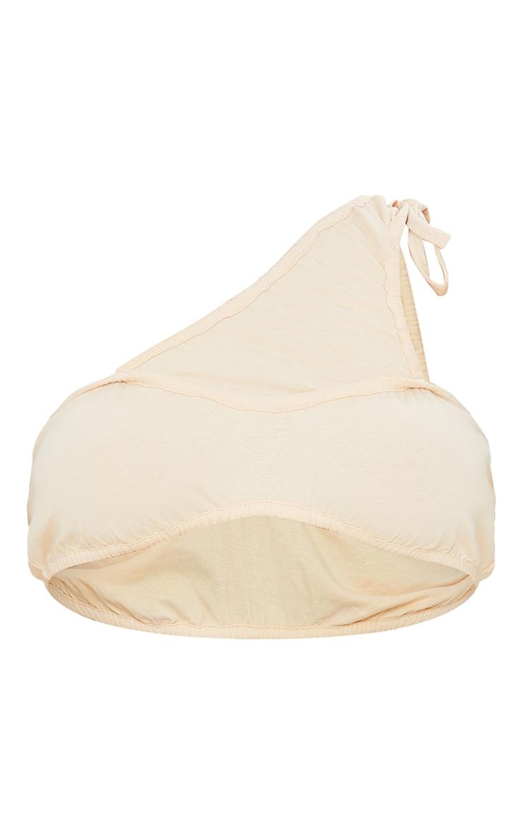 Sand Cotton Ruched Tie One Shoulder Bralet 5