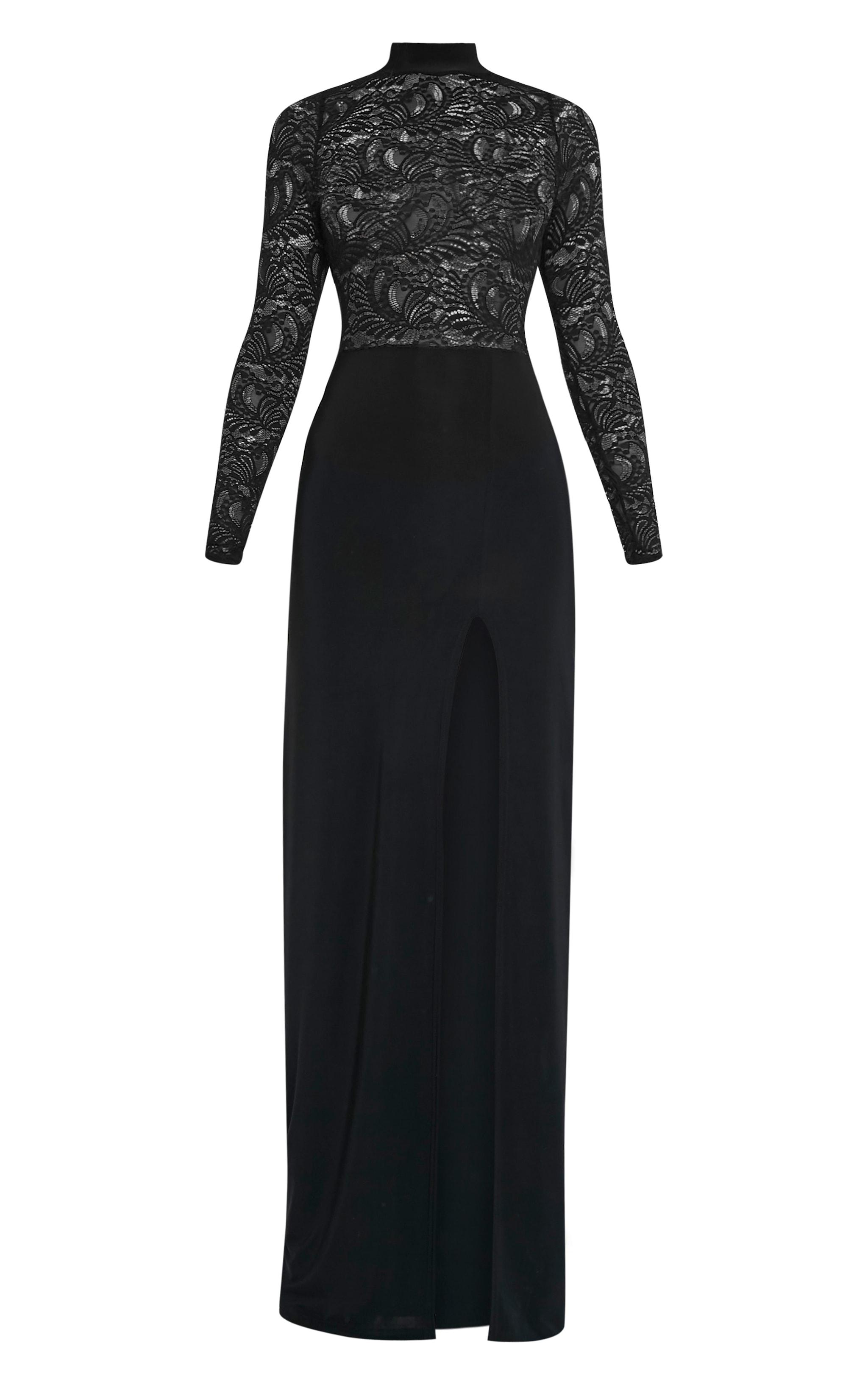 Maisie Black Lace Top Split Side Maxi Dress 3