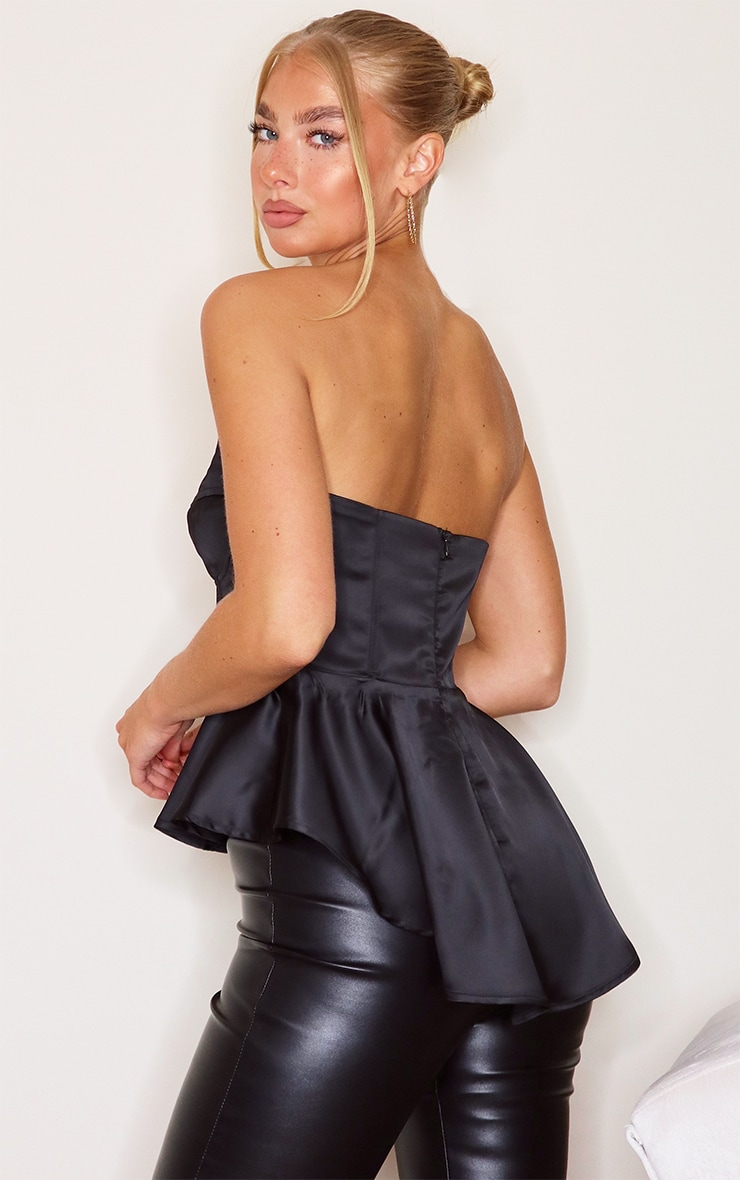 Black Satin Bandeau Corset Peplum Waist Long Top 2