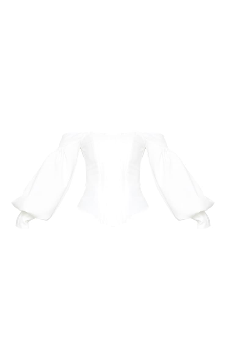 Petite White Bardot Balloon Sleeve Corset Top 3