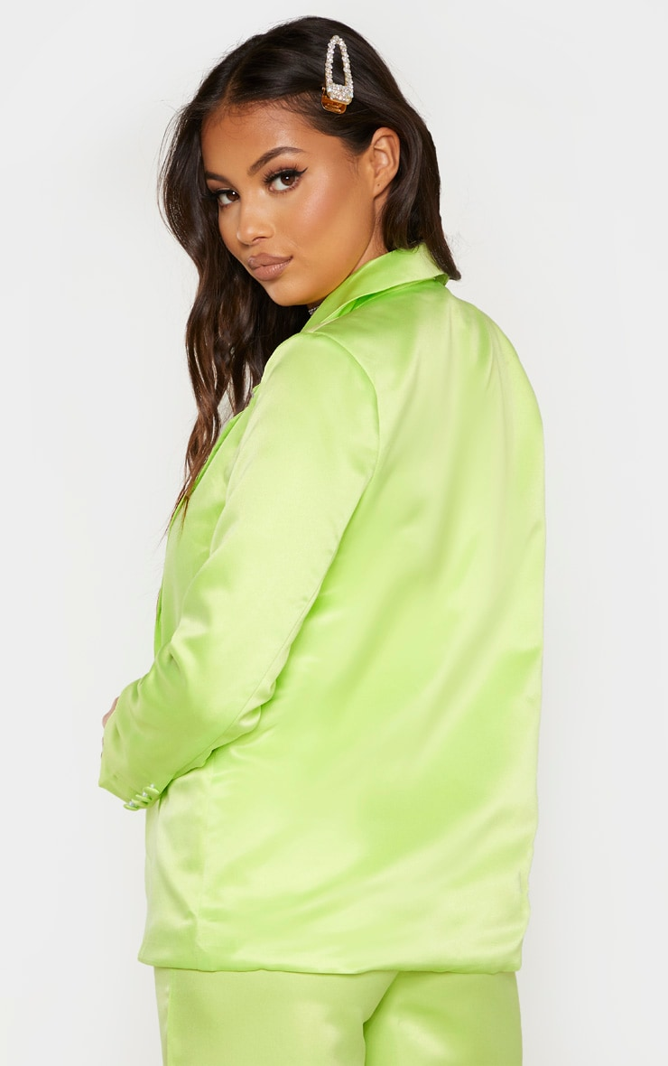 Petite Pale Lime Satin Oversized Blazer  2