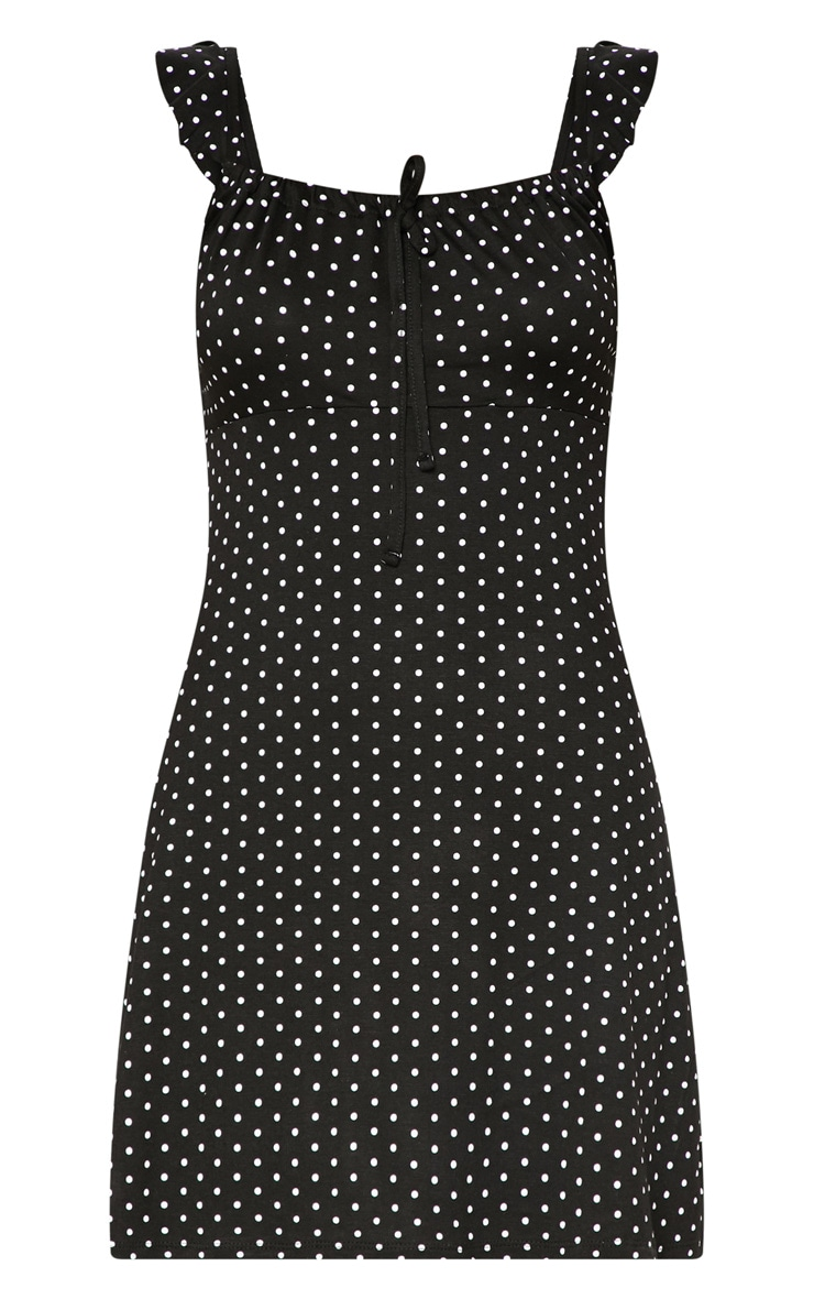 Blaclk Polka Dot Frill Sleeve Skater Dress 3