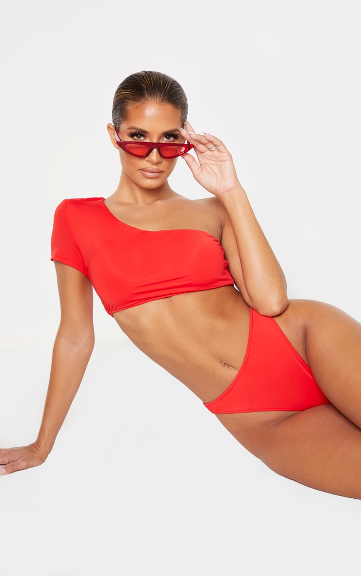 Red One Shoulder Sleeve Bikini Top 4