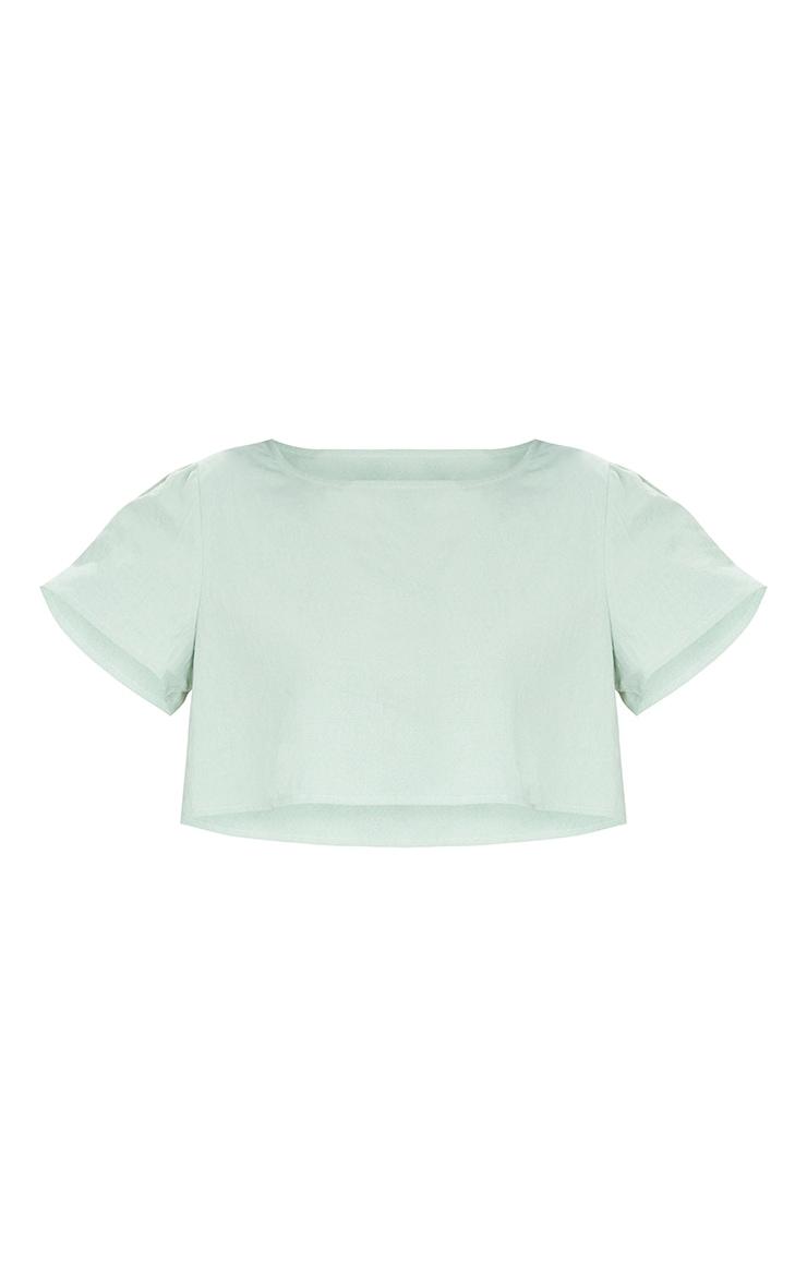 Tall - T-shirt court effet lin vert sauge 5