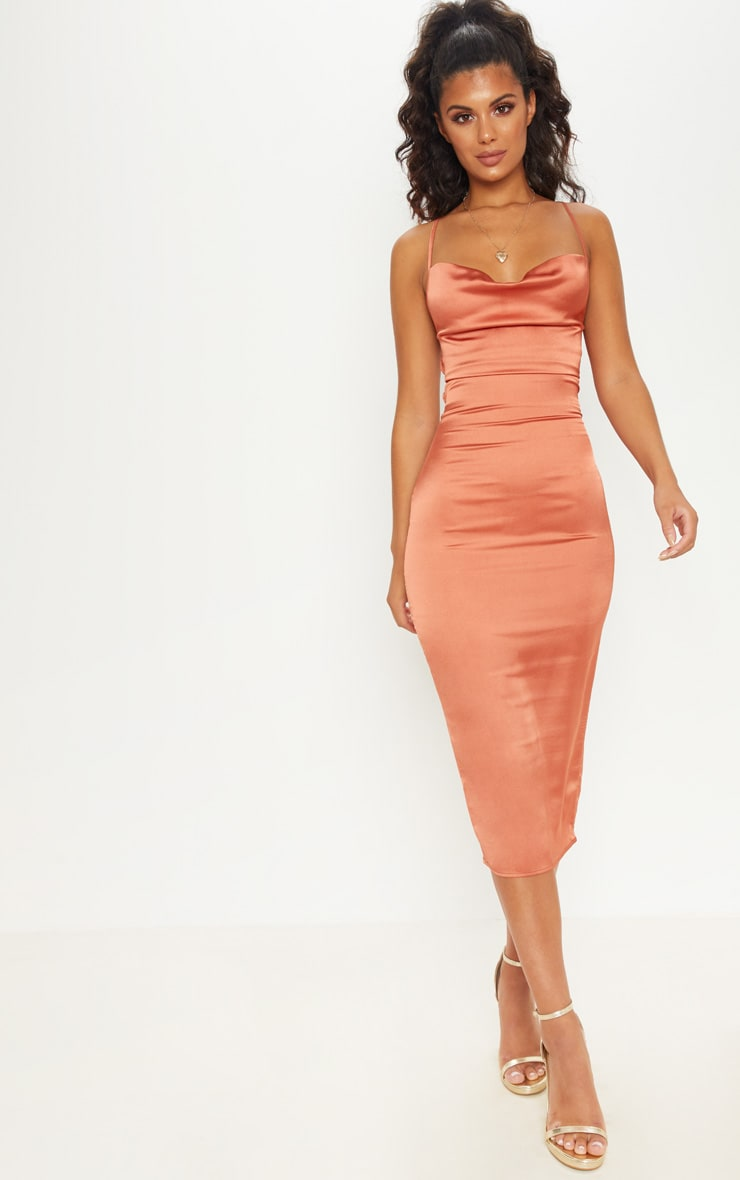 Rust Strappy Back Cowl Neck Satin Midi Dress 2