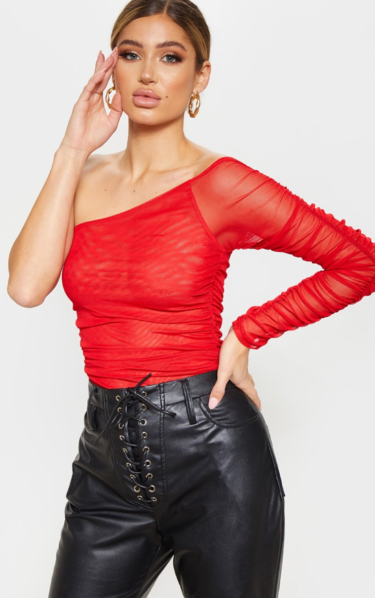Red One Shoulder Ruched Mesh Bodysuit 1