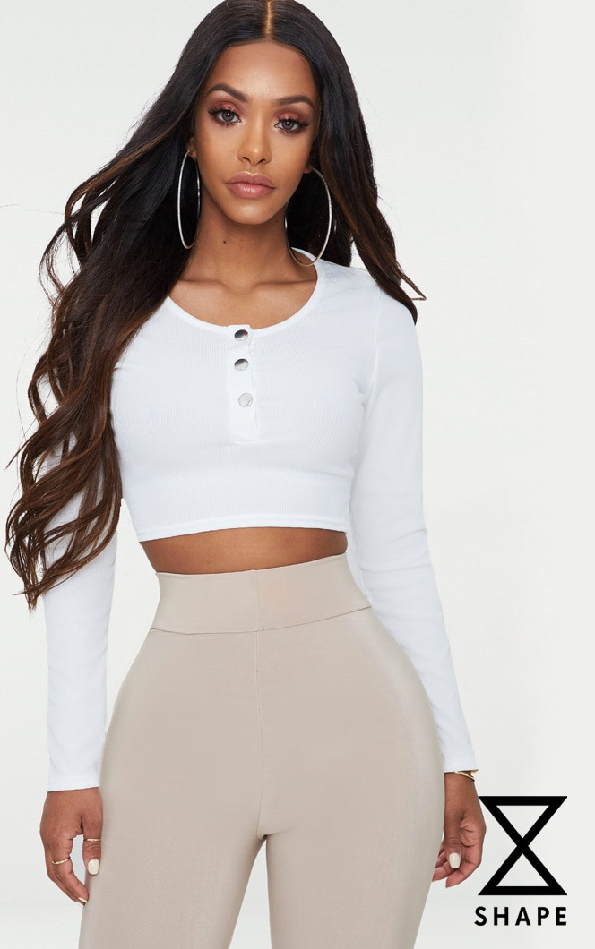Shape White Ribbed Popper Detail Crop Top