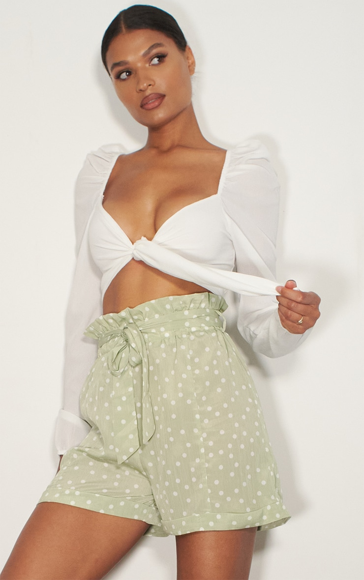 Sage Green Polka Dot Satin Shorts 4