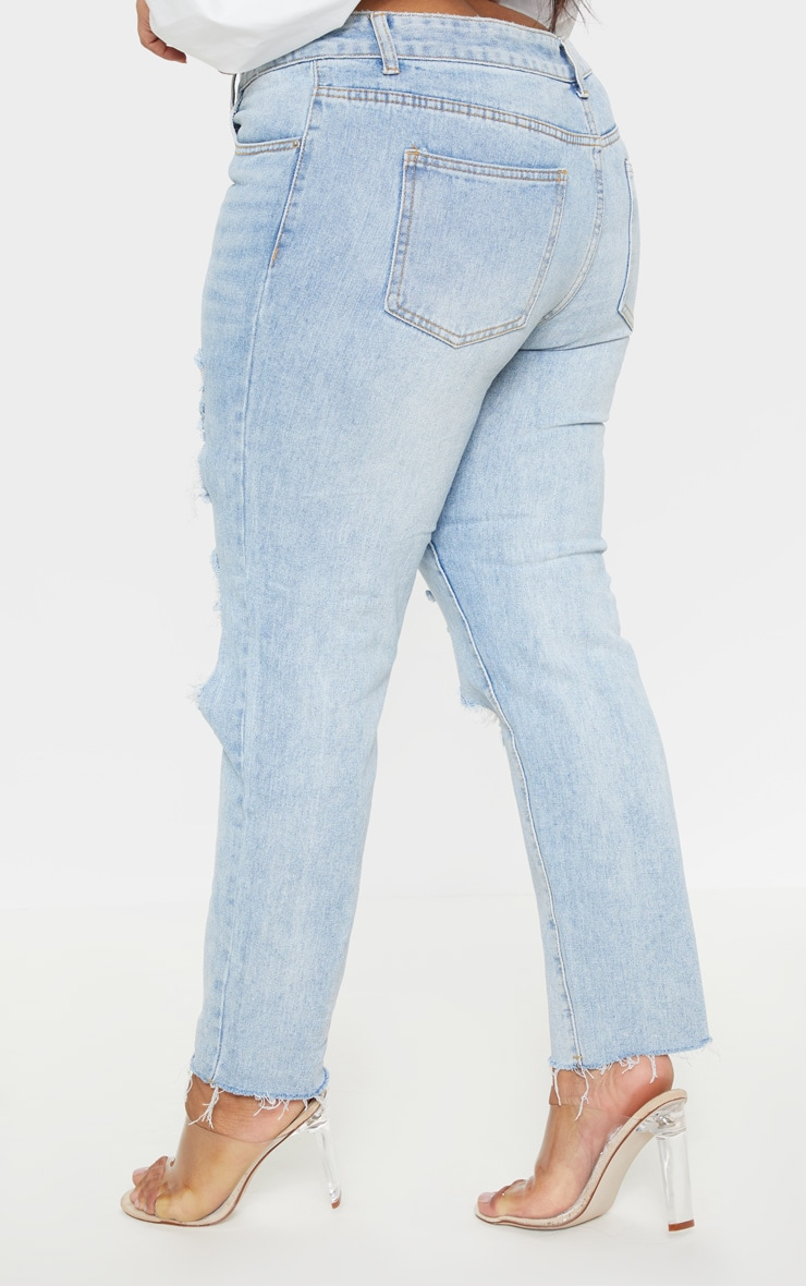 Plus Light Wash Extreme Distressed Mom Jean 4