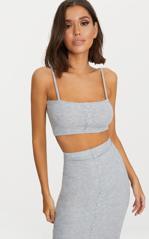 Grey Marl Rib Square Neck Button Detail Crop Top 1