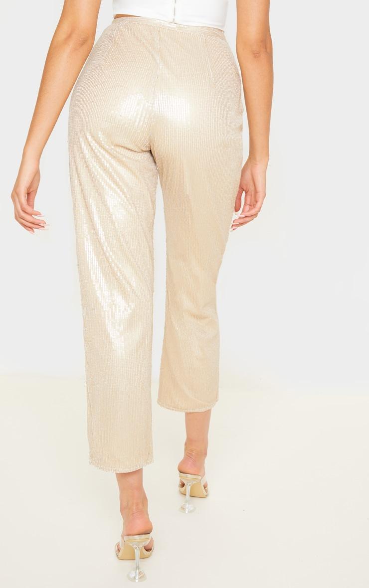 Pantalon droit taille haute en sequins dorés 4
