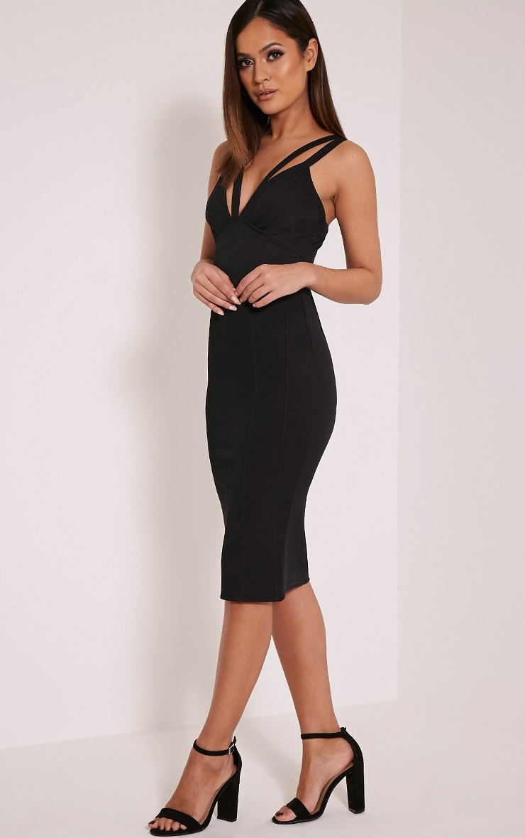 Kalle Black Bandage Detail Strappy Cup Midi Dress 4