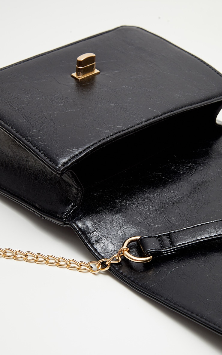 Black PU Quilted Chain Cross Body Bag 3