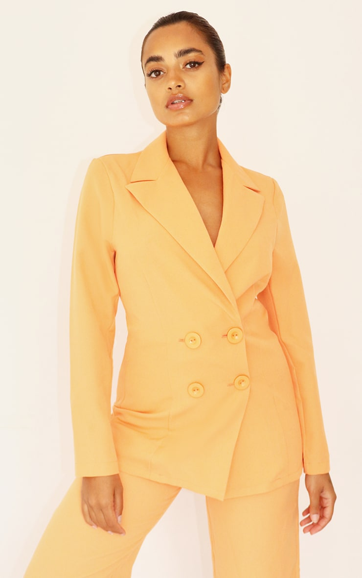 Petite Peach Button Front Oversized Blazer 1