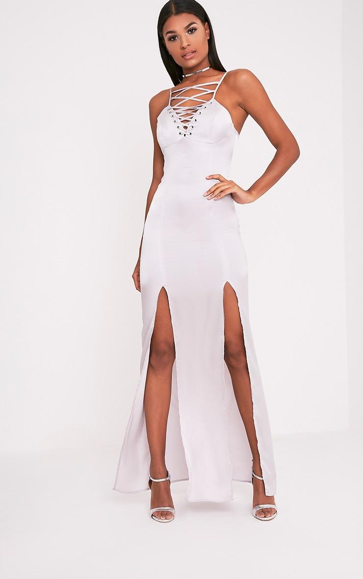 Kiria Silver Grey Lace Up Satin Maxi Dress 1