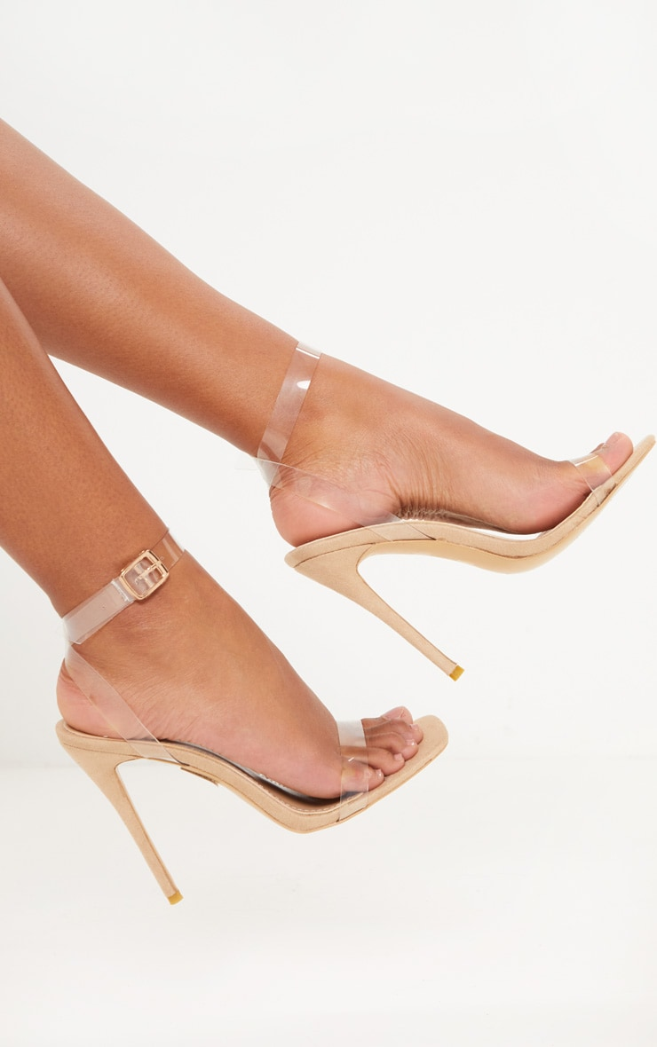 Nude Square Toe Clear Strappy Sandal 1