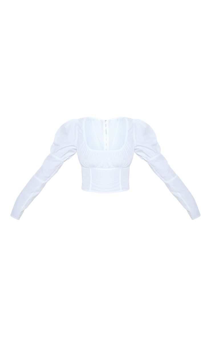 White Puff Sleeve Square Neck Crop Top 3