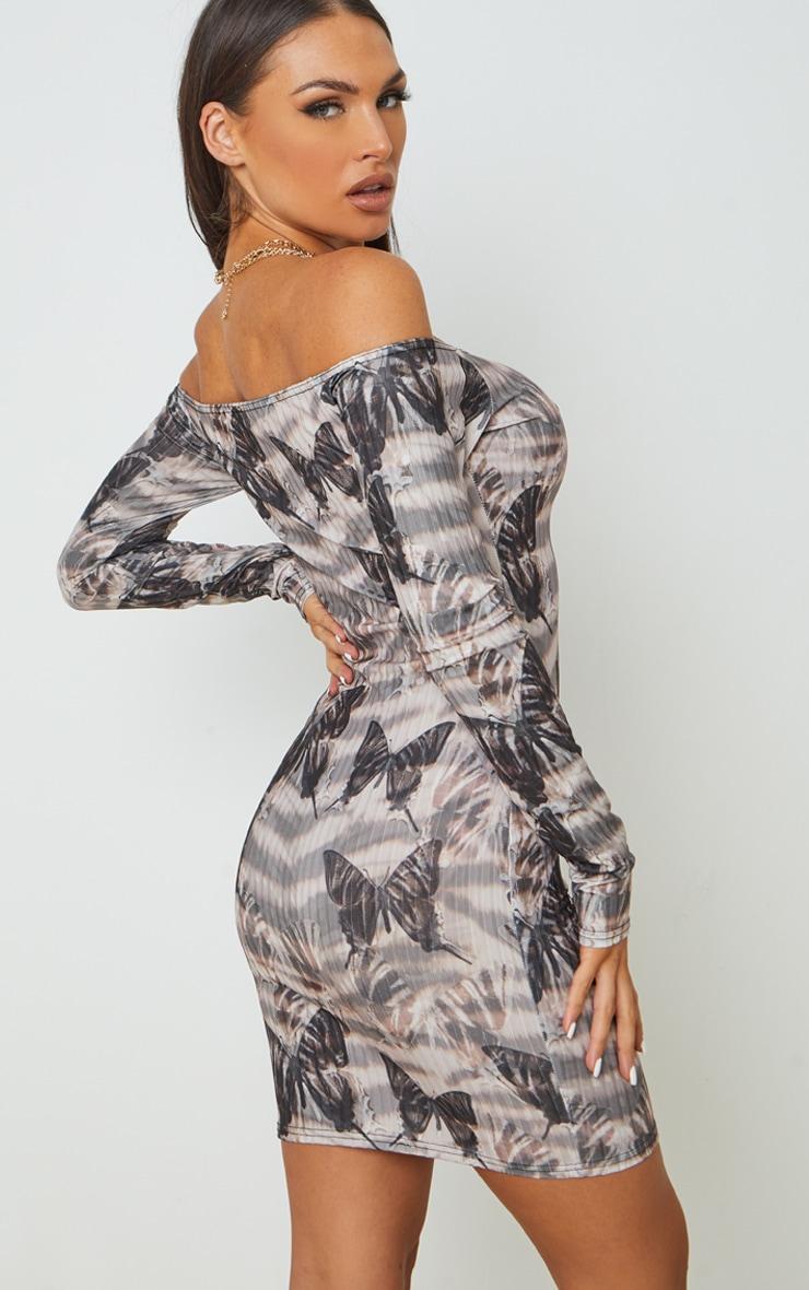 Beige Zebra Butterfly Ribbed Long Sleeve Bardot Bodycon Dress 2