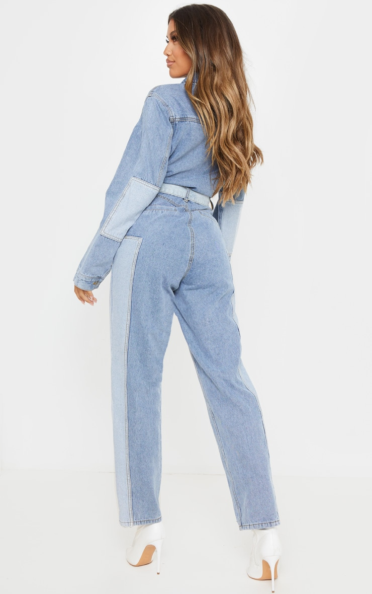 Mid Blue Wash Two Tone Oversized Belted Denim Boilersuit 2