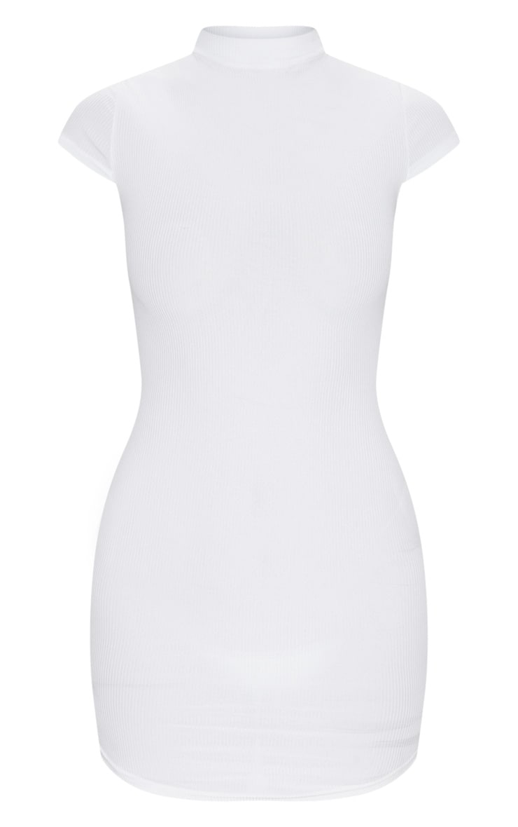 White High Neck Ribbed Bodycon Dress 5