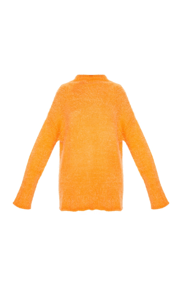 Orange Oversized Eyelash Jumper 3