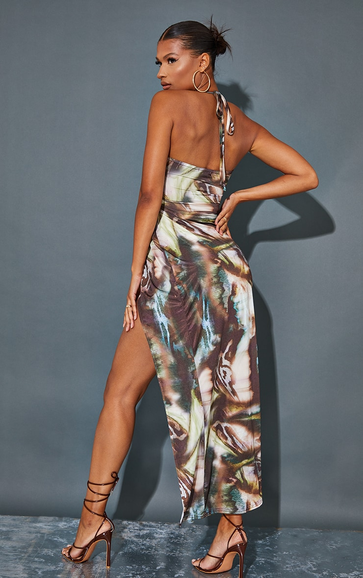 Multi Abstract Print Slinky Cowl Neck Cut Out Maxi Dress 2