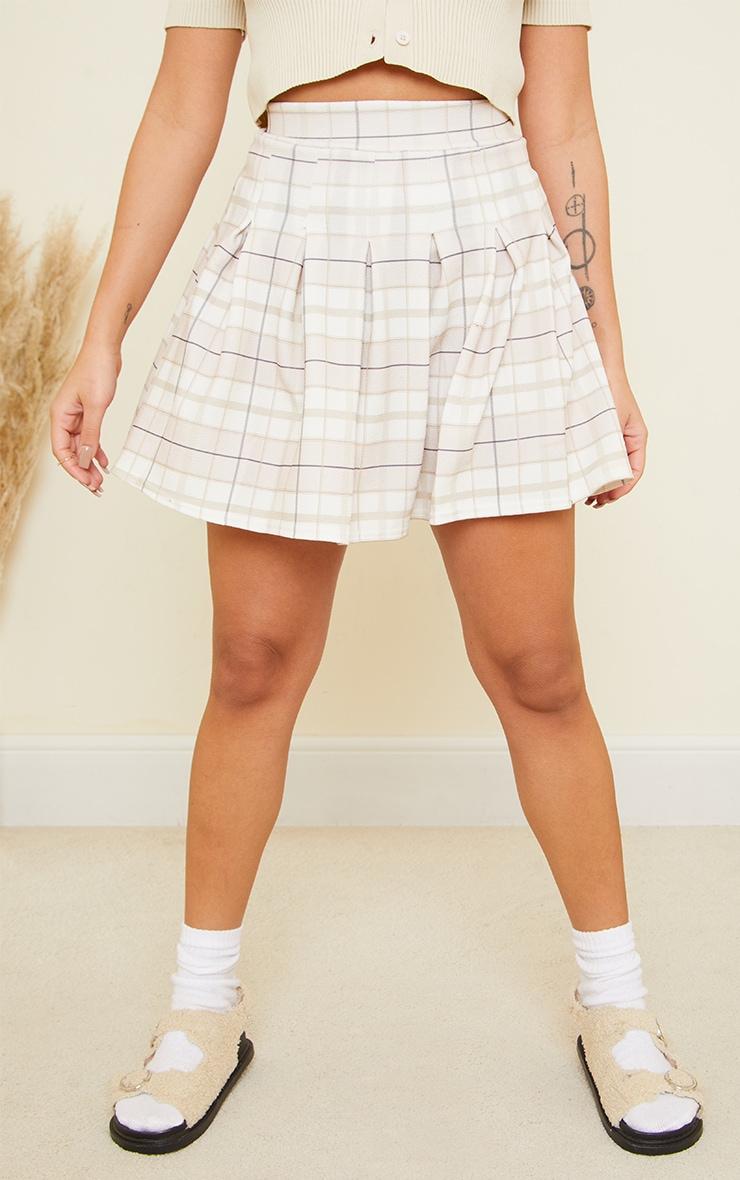 Petite Stone Check Crepe Tennis Skirt 2