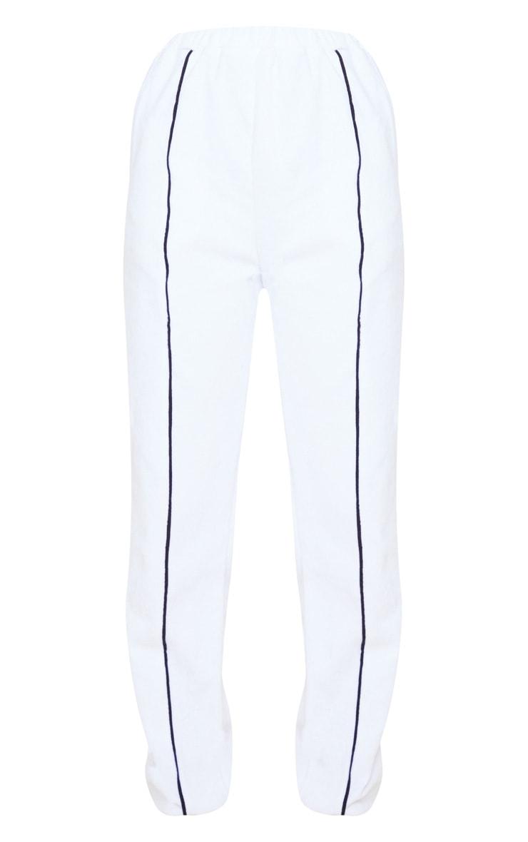 White Velour Contrast Stripe Jogger 3