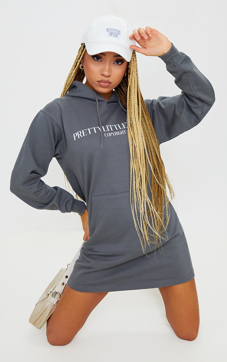 PRETTYLITTLETHING Charcoal Print Oversized Hooded Sweat Jumper Dress 1