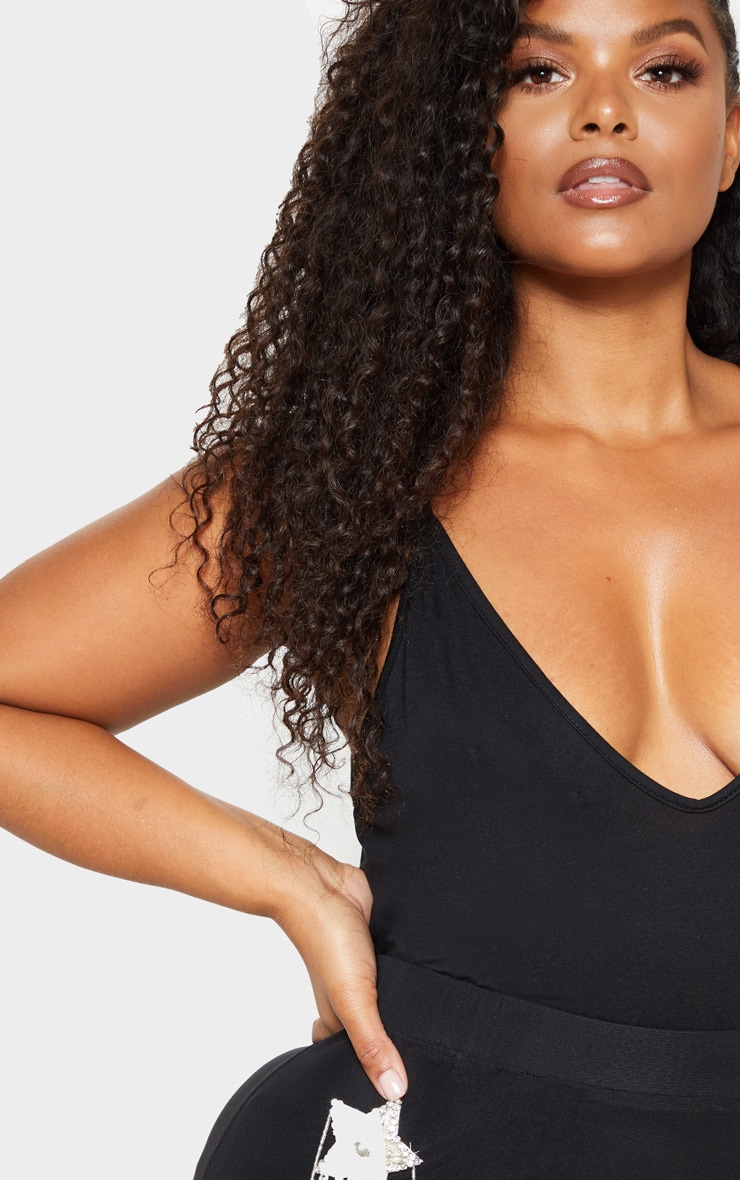 Plus Black Strappy Plunge Bodysuit 6
