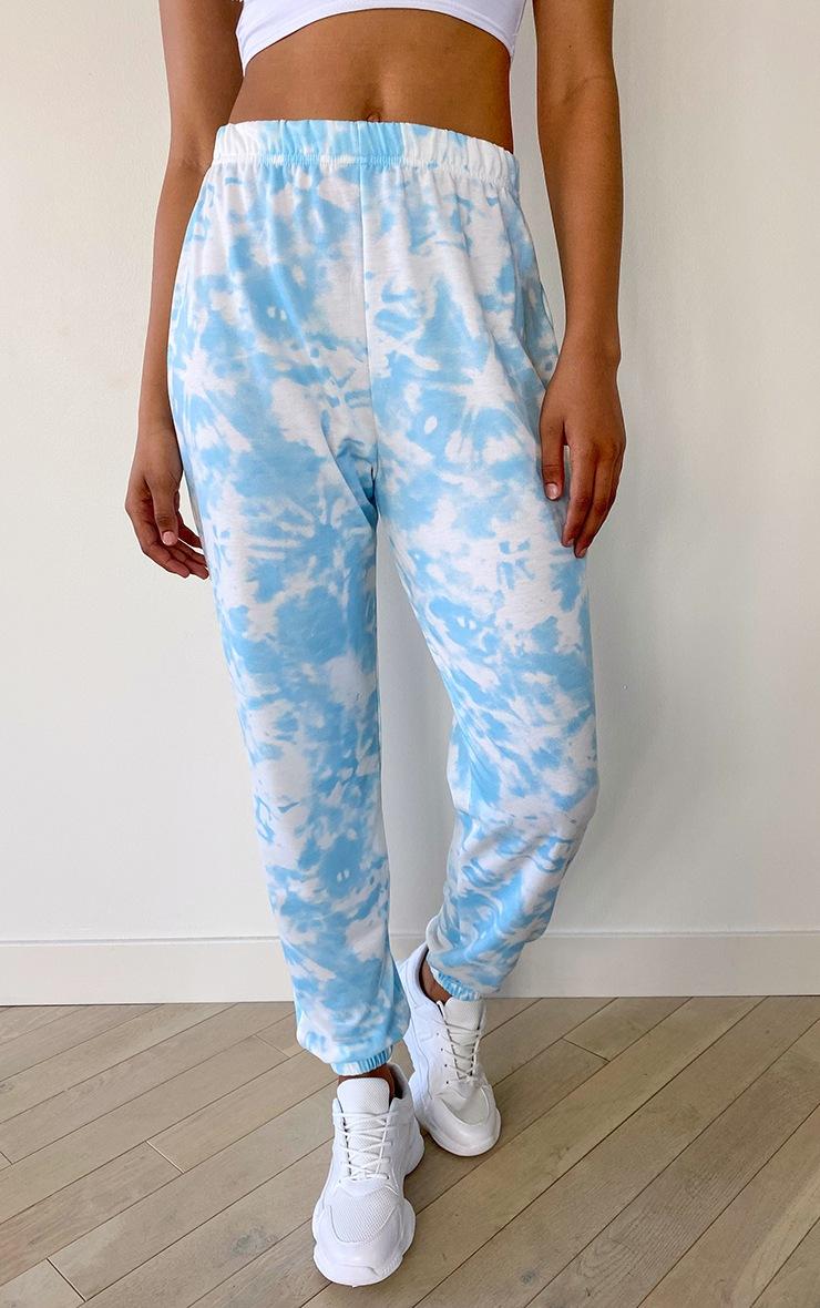 Tall Baby Blue Tie Dye Cuffed Hem Joggers 2