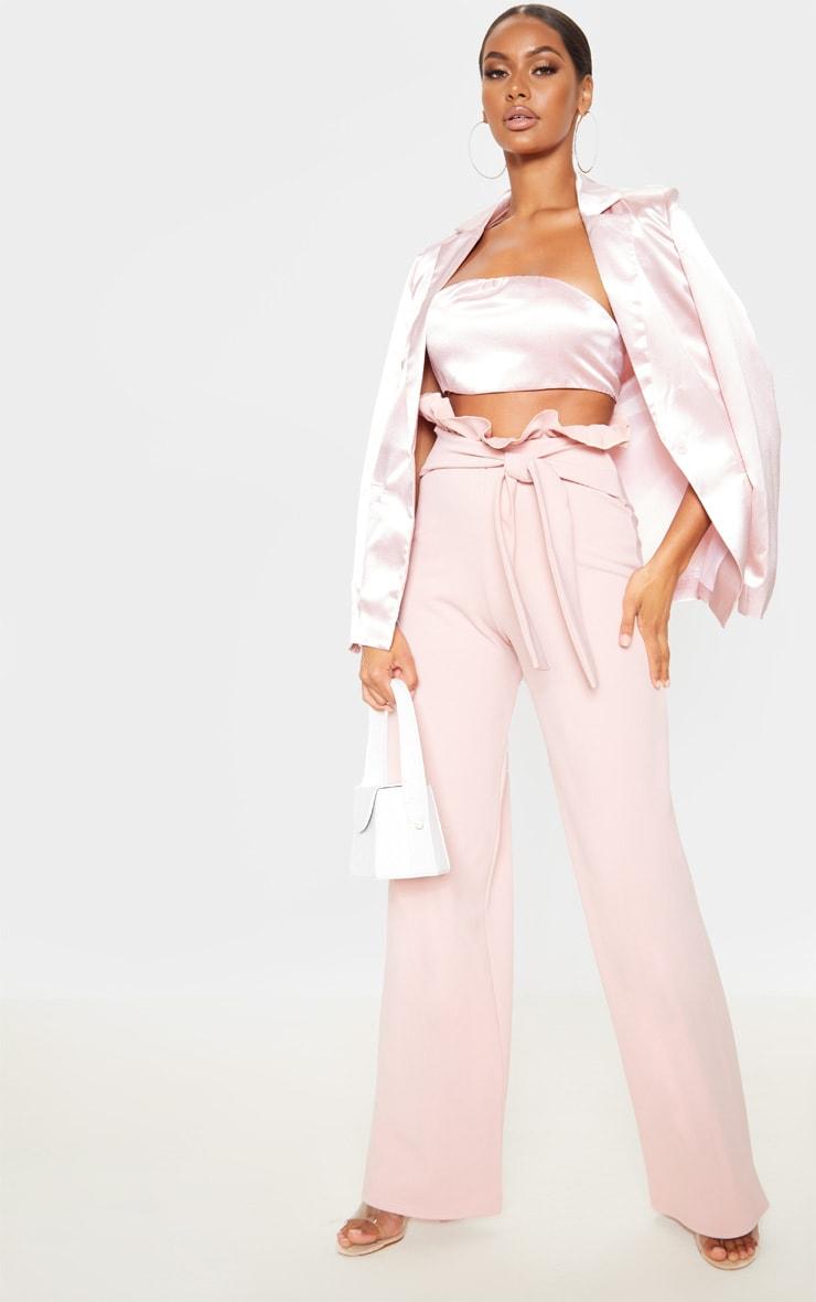 Blush Crepe Paperbag Wide Leg Pants 1