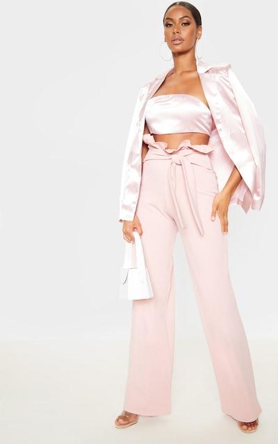 Blush Crepe Paperbag Wide Leg Trousers