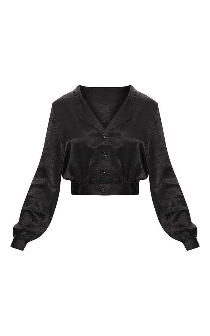Black Satin Button Front Crop Shirt  3